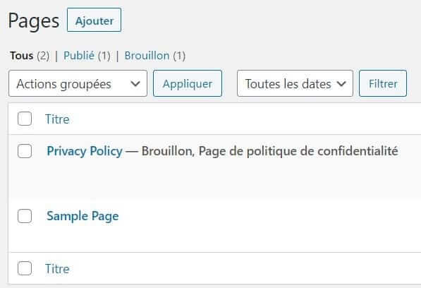 Pages d'exemple wordpress