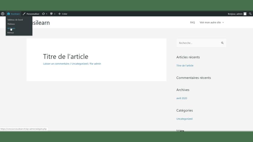 widget barre latérale WordPress