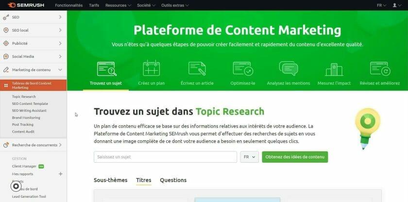 Plateforme de content marketing