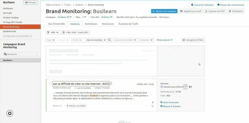 Tableau de bord de Brand monitoring