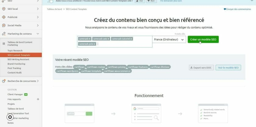Créer du contenu optimisé en fonction des résultats en top 10 des mots clés