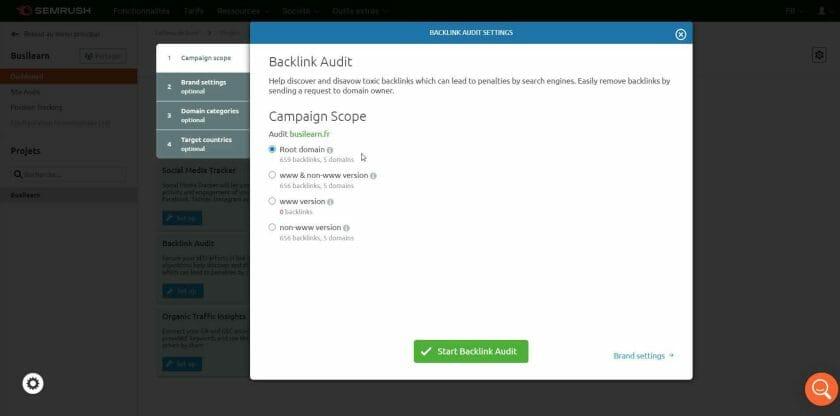 Paramétrage de l'audit des Backlinks