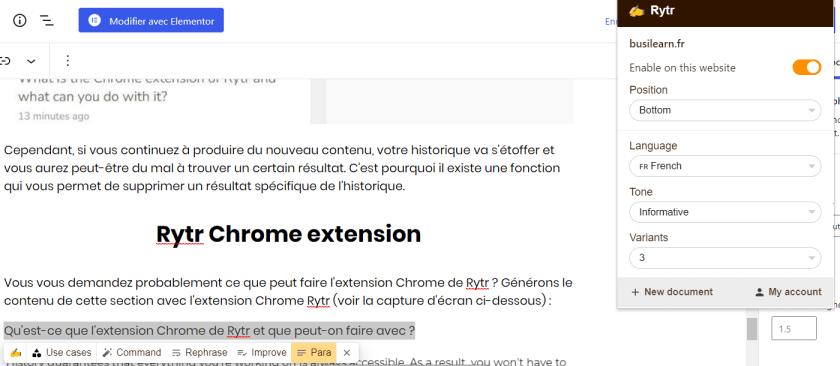 Génération de contenu avec l'extension chrome Rytr